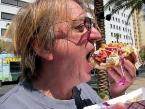 Hot dog eating at Hodge Podge Truck
